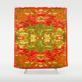 French Tapestry Style Red Poppy Floral Shower Curtain