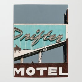 Vintage Neon Sign - The Drifter - Silver City Poster
