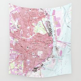 Vintage Map of Mobile Alabama (1953) Wall Tapestry