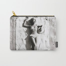 A French Riviera Afternoon in a bikini black and white photograph Carry-All Pouch