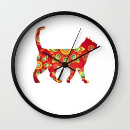 Red colorful Cats Wall Clock