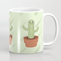 kawaii Mugs featuring Kawaii Cactus by Nir P