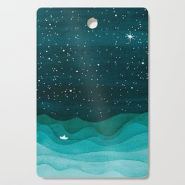Starry Ocean, teal sailboat watercolor sea waves night Cutting Board