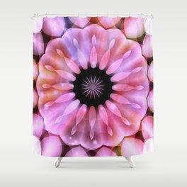 Pink Light Beams Flower Kaleidoscope Shower Curtain