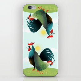 Morning Glory Rooster And Hen Wake Up Call iPhone Skin