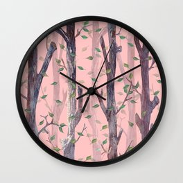 Forest Pink Wall Clock