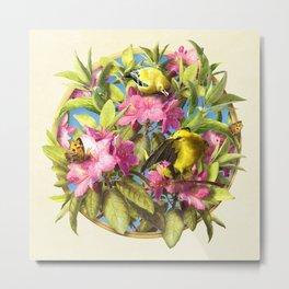 Flowers and Birds 1 Metal Print