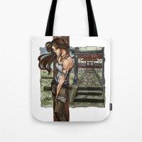 lara croft Tote Bags featuring Lara Croft Japan by memo_alatouly