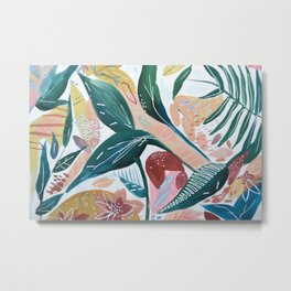 Botanical Green Leaf Jungle Metal Print