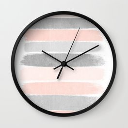Grey and millennial pink stripes painted minimalist brushstrokes canvas art Wall Clock