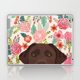 Chocolate Lab florals dog breed portrait pet art dog lover gifts labrador retriever Laptop & iPad Skin