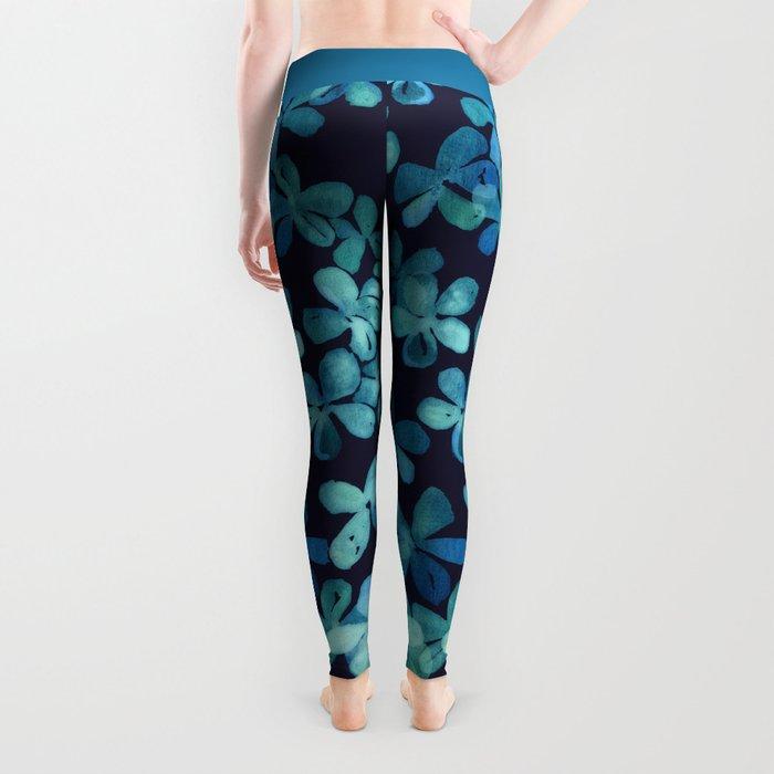 Hand Painted Floral Pattern in Teal & Navy Blue Leggings
