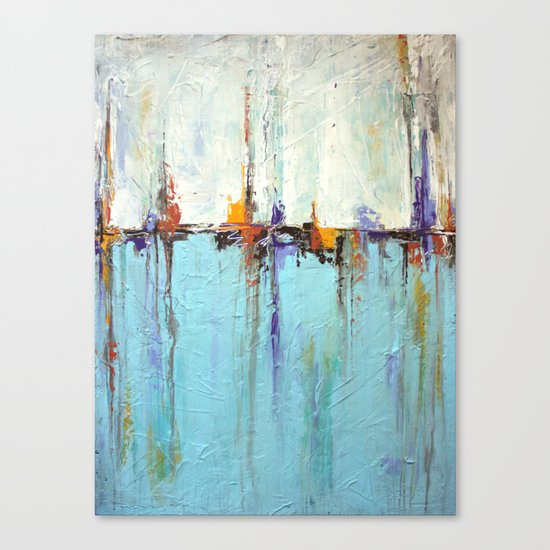 "Abstract White and Blue Painting – Textured Art – ""Sailing""  Canvas Print"