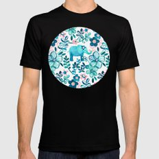 Dusty Pink, White and Teal Elephant and Floral Watercolor Pattern Mens Fitted Tee MEDIUM Black