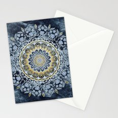 Blue Floral Mandala Stationery Cards