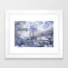 Brooklyn Bridge New York USA Watercolor blue Illustration Framed Art Print