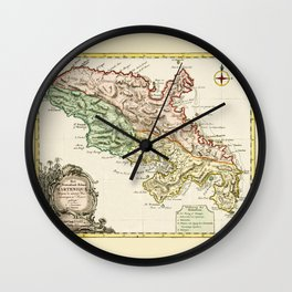 Map Of Martinique 1750 Wall Clock