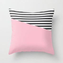 Pink & Gray Stripes Throw Pillow