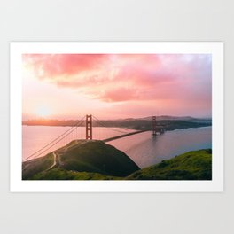 Sherbert Skies over the Golden Gate Bridge from Slackerhill Art Print