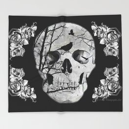 Gothic Skull Crow Rose A353 Throw Blanket