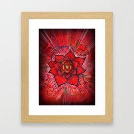 Root Chakra Red Lotus Flower Framed Art Print