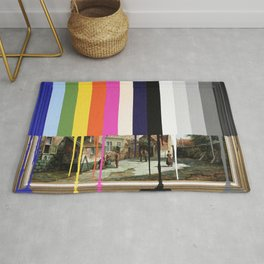 Garage Sale Painting of Peasants with Color Bars Rug