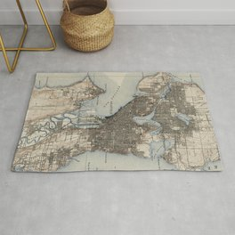 Vintage Map of Seattle Washington (1908) Rug