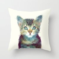 kitten Throw Pillows featuring Cat // Aware by Amy Hamilton