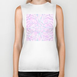 Abstract Mint Pink Flower Pattern Biker Tank