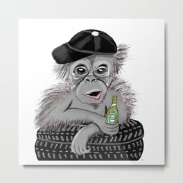 Monkey with beer Metal Print