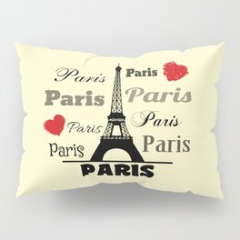Paris text design illustration 2 Pillow Sham