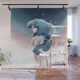 Girl art. Mermaid art. Digital art print. Girl print Wall Mural