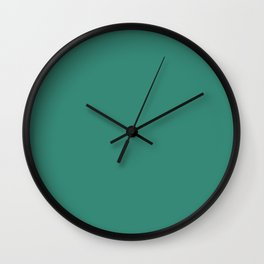 Dark Mid Tone Aquamarine Green Blue Solid Color Pairs To Sherwin Williams Ionian SW 6754 Wall Clock