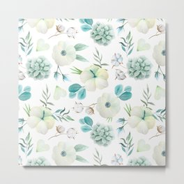 Trendy white blue teal hand painted watercolor flowers Metal Print