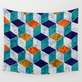 Cube Floral Wall Tapestry
