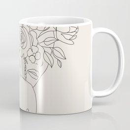 Woman with Flowers Minimal Line III Coffee Mug