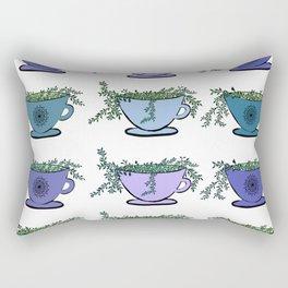 Green Tea Leaves Pattern Rectangular Pillow