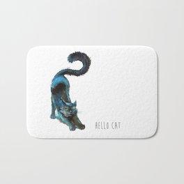 Black Blue Cat Stretching Drawing  Bath Mat