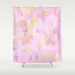 Rose Gold Blush & Gold Falling Leaves Shower Curtain