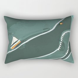 Oceanic Box with Shark, Sailboat and Fishes Rectangular Pillow