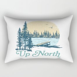 Vintage Up North Lake Rectangular Pillow