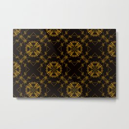 Golden Bamboo Motif on Black Metal Print