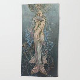 Mermaid with Fan No. 1 by David Delamare Beach Towel