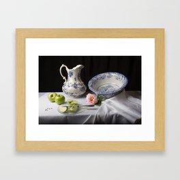 Delft blue china and apples still life Framed Art Print