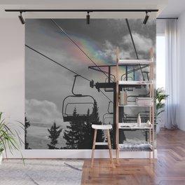 4 Seat Chair Lift Rainbow Sky B&W Wall Mural