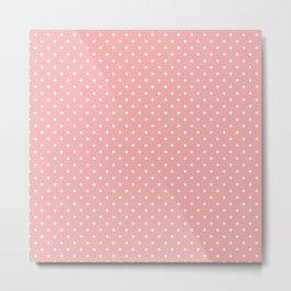 Classic White Small Polka Dot Spots on Blush Pink Metal Print
