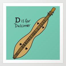 D is for Dulcimer Art Print