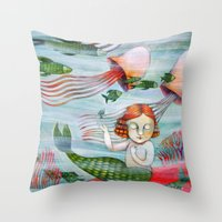siren Throw Pillows featuring SIREN by Lauraballa StudioArte