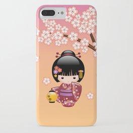 Japanese Sakura Kokeshi Doll iPhone Case
