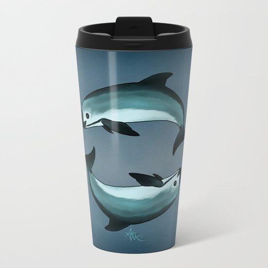 Spiraling ~ Vaquita Porpoise (Critically Endangered) art by Amber Marine, (c) 2015 Metal Travel Mug